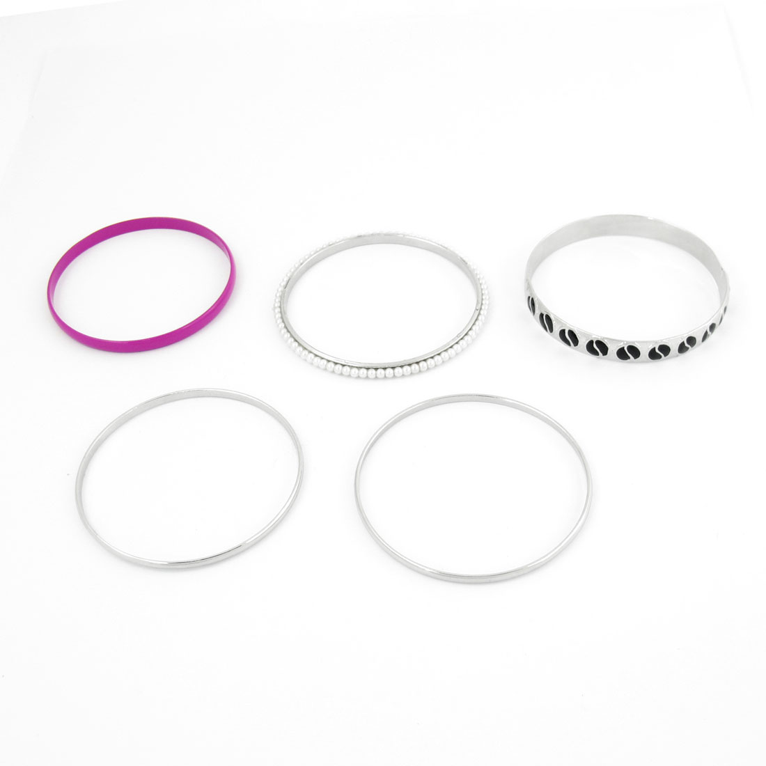 5 Pcs Silver Tone Fuchsia Bears Decor Bracelet Bangle for Lady
