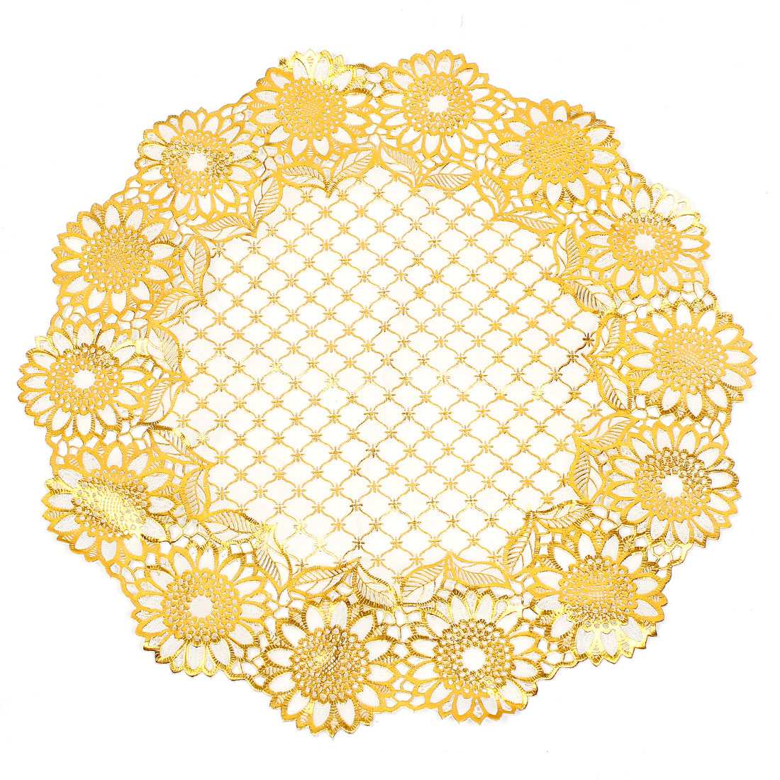"16.1"" Diameter Scalloped Edge Gold Tone White Table Cup Mat Lace Placemat"