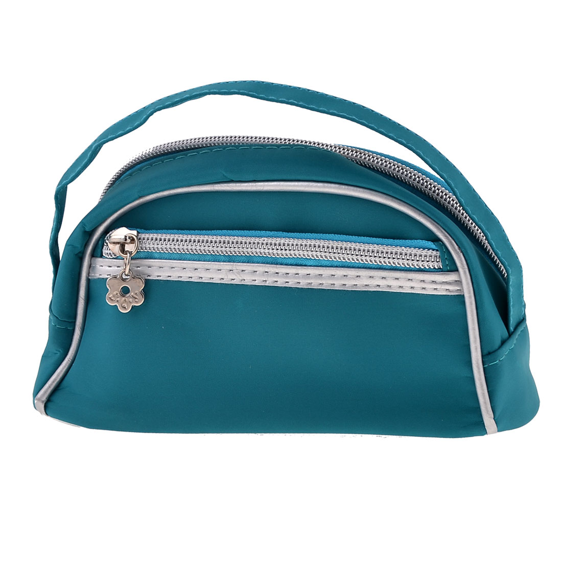 Lady Zipper Closure Make Up Case Handbag Purse w Mirror Teal Blue