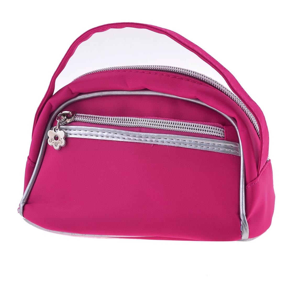 Lady Polyester Zipper Closure Make Up Case Handbag w Mirror Fuchsia