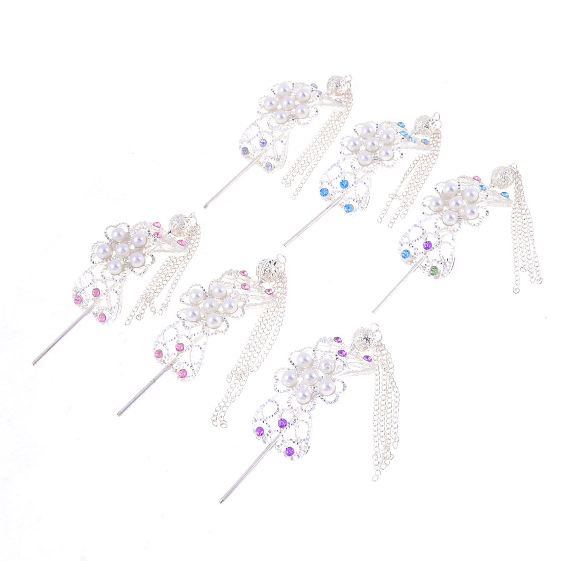Lady 6 Pcs Silver Tone Floral Shaped Braided Chain Pendant Classical Hair Pin