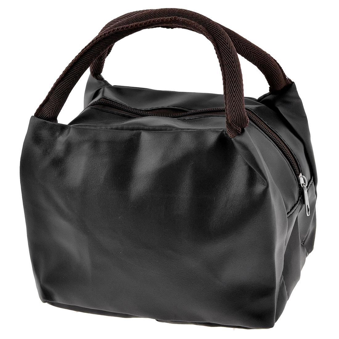 Lady Black Faux Leather Waterproof Make Up Case Handbag