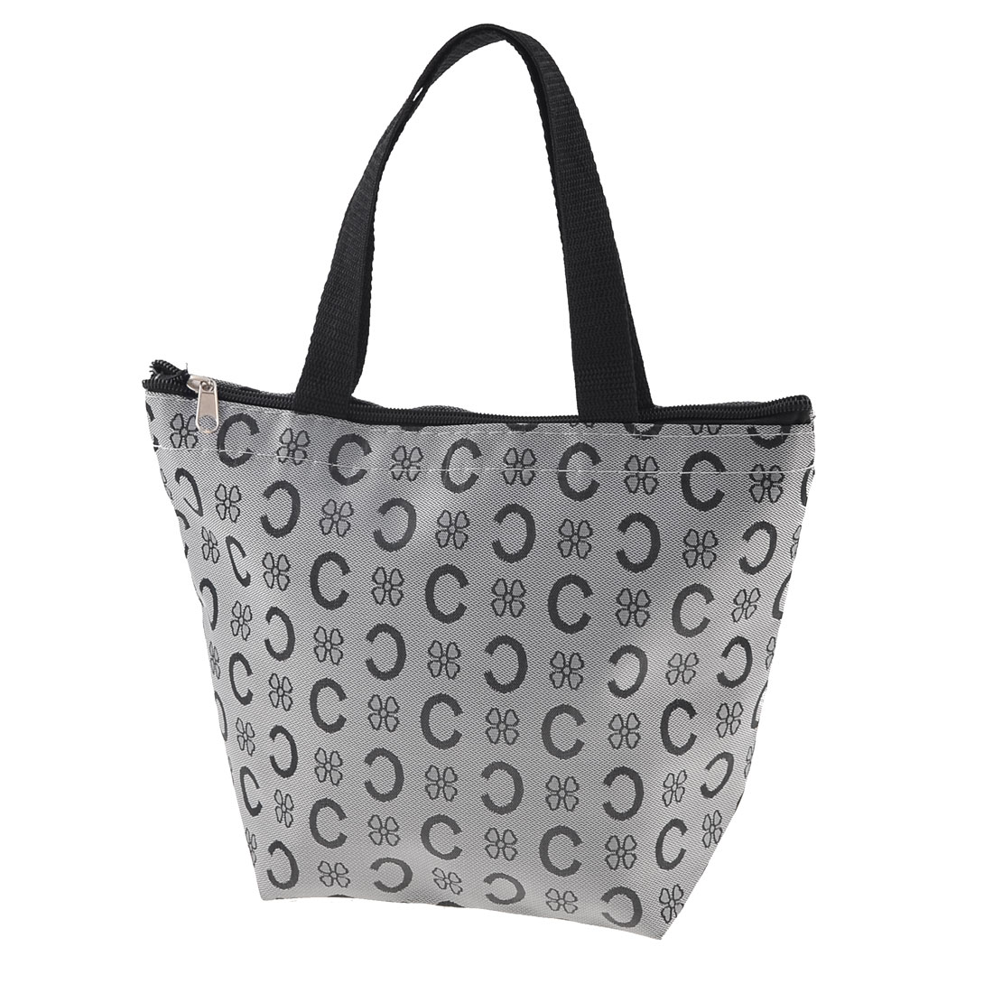 Lady Letter C Print Design Black Faux Leather Lined Tote Handbag Silver Gray