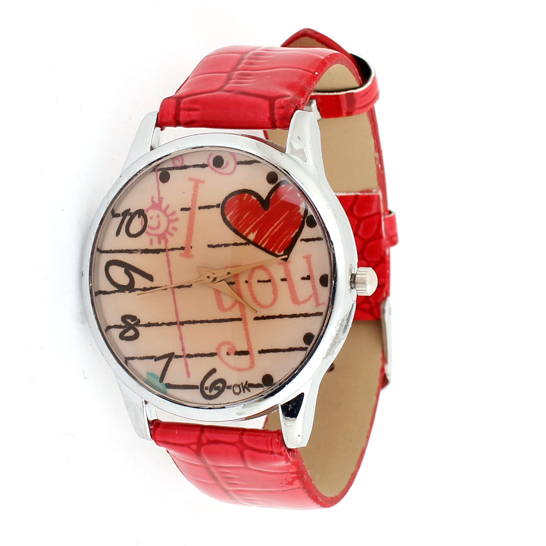 Woman Faux Leather Architecture Pattern Roman Number Dial Quartz Watch Red