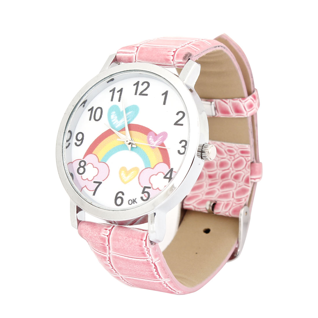 Pink Faux Leather Band Rainbow Pattern Round Quartz Watch for Women