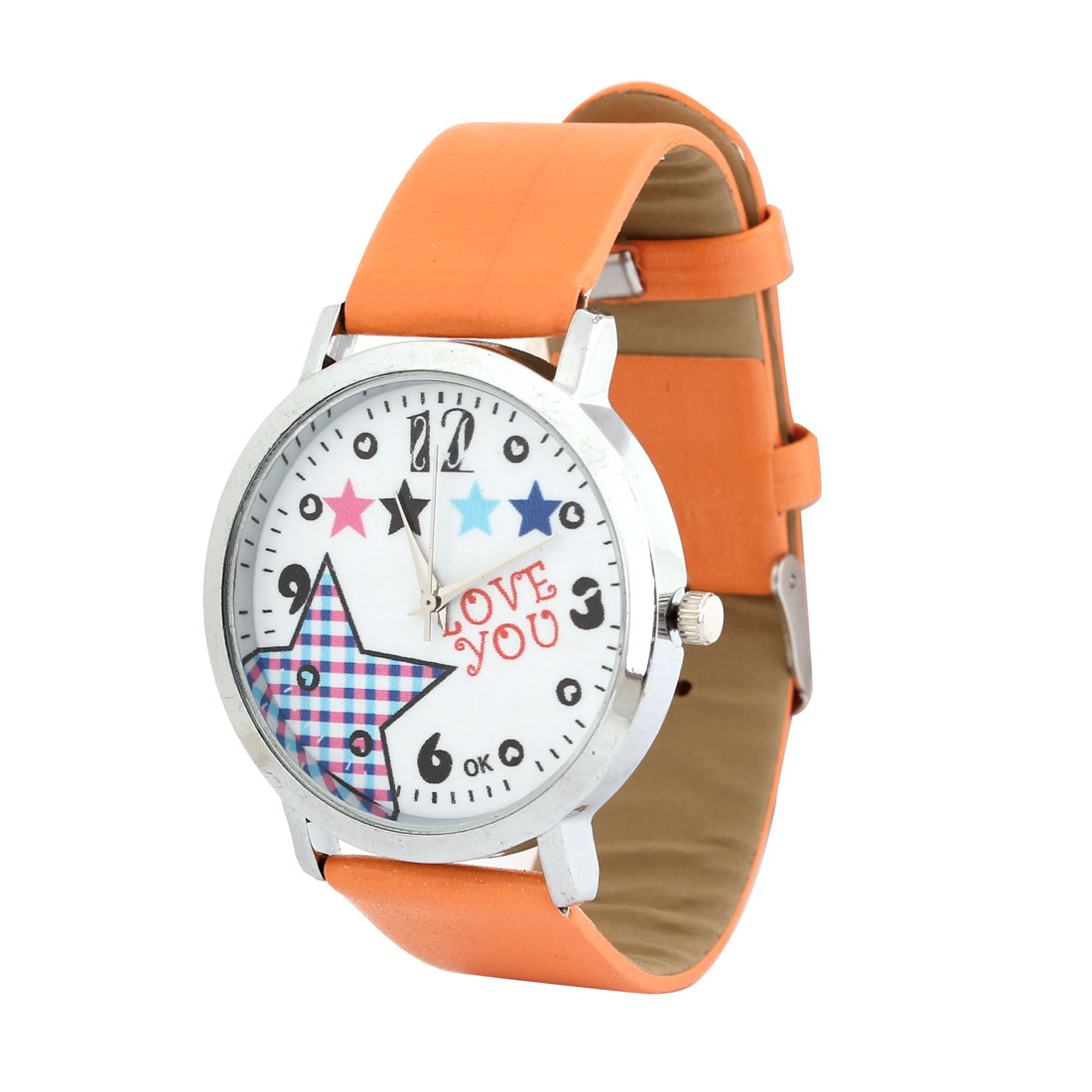 Ladies Orange Faux Leather Band pentagram Pattern Arabic Number Dial Watch