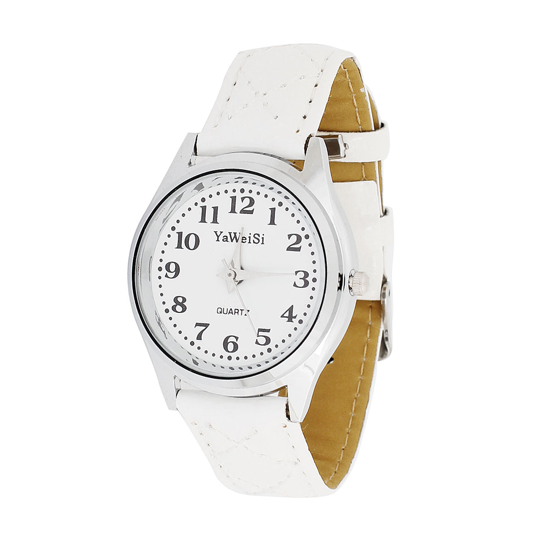 Arabic Number Faux Leather Strap Round Dial Watch White for Women