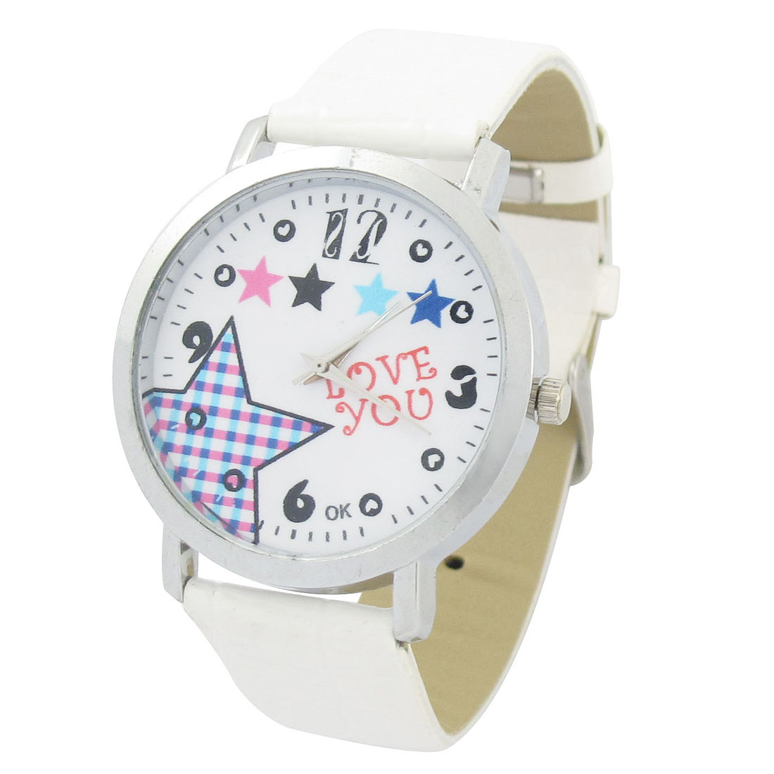 Ladies White Faux Leather Band pentagram Pattern Arabic Number Dial Watch
