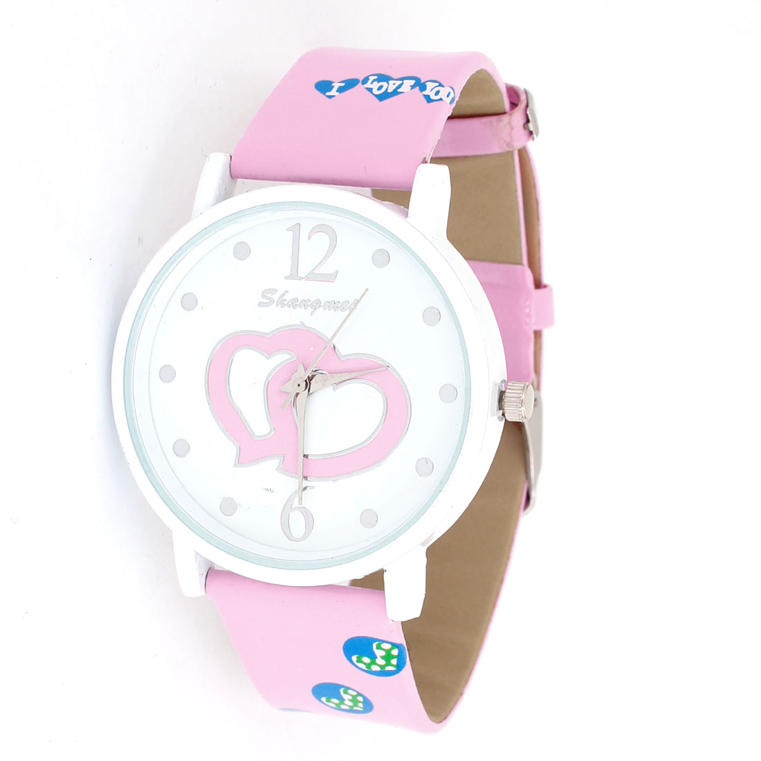 Pink Faux Leather Band Round Wrist Ornament Dial Watch for Lady Girls