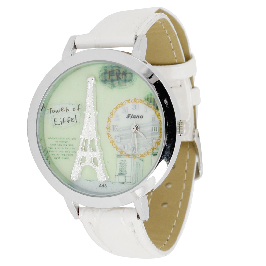 Woman Eiffel Tower Prints Roman Number White Green Faux Leather Wristband Watch