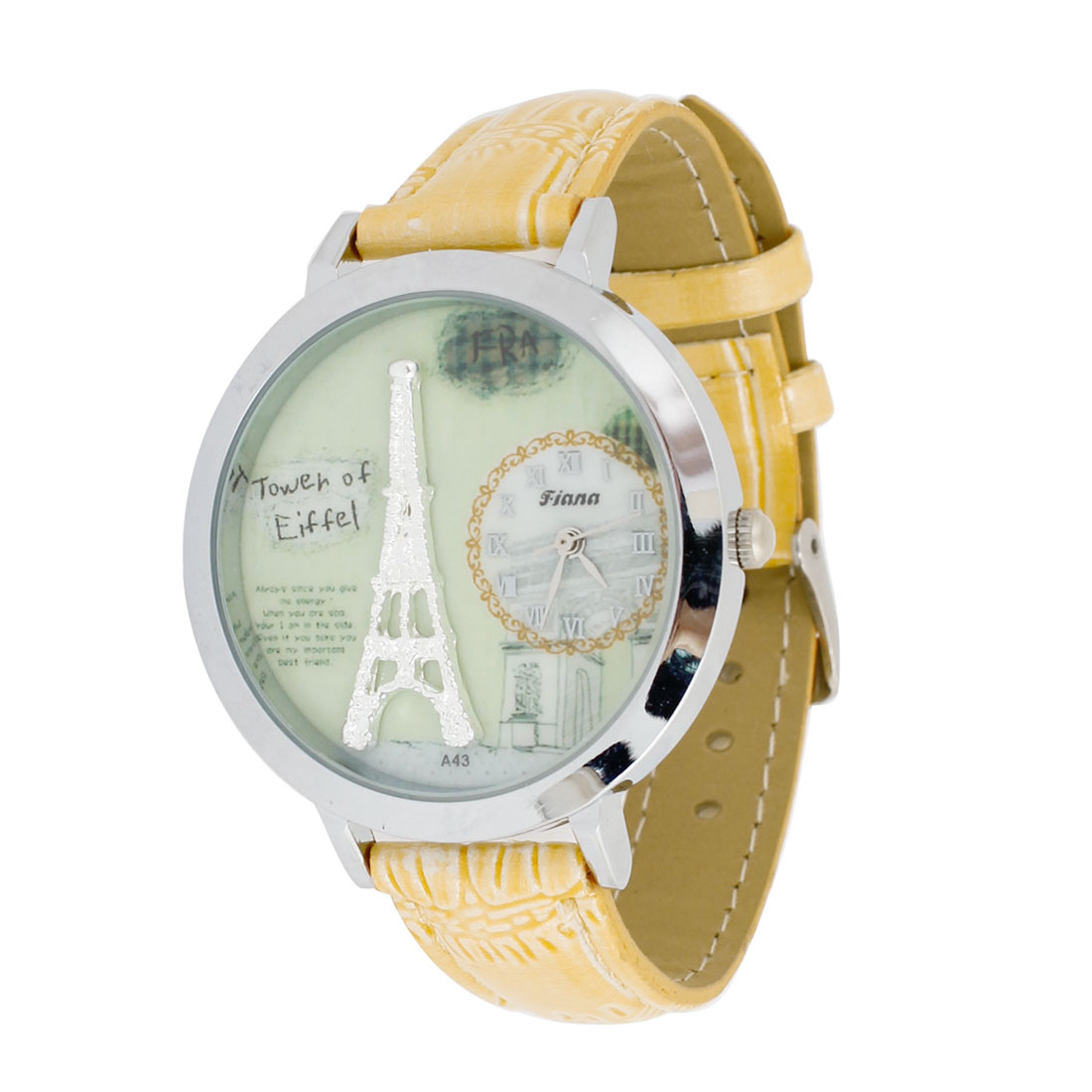 Woman Eiffel Tower Pattern Romam Number Yellow Green Band Wrist Watch