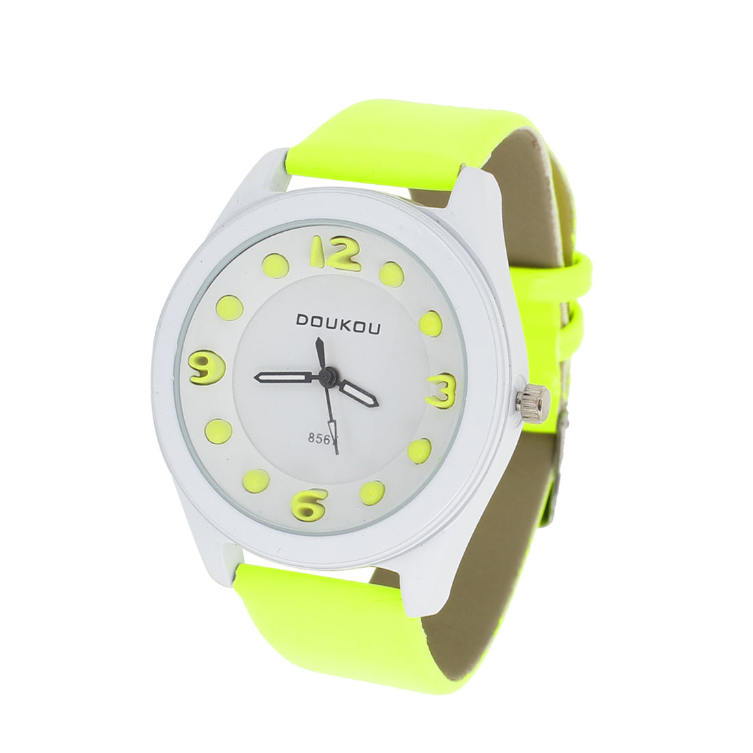 Women Yellow White Faux Leather Watchband Round Dial Wrist Watch
