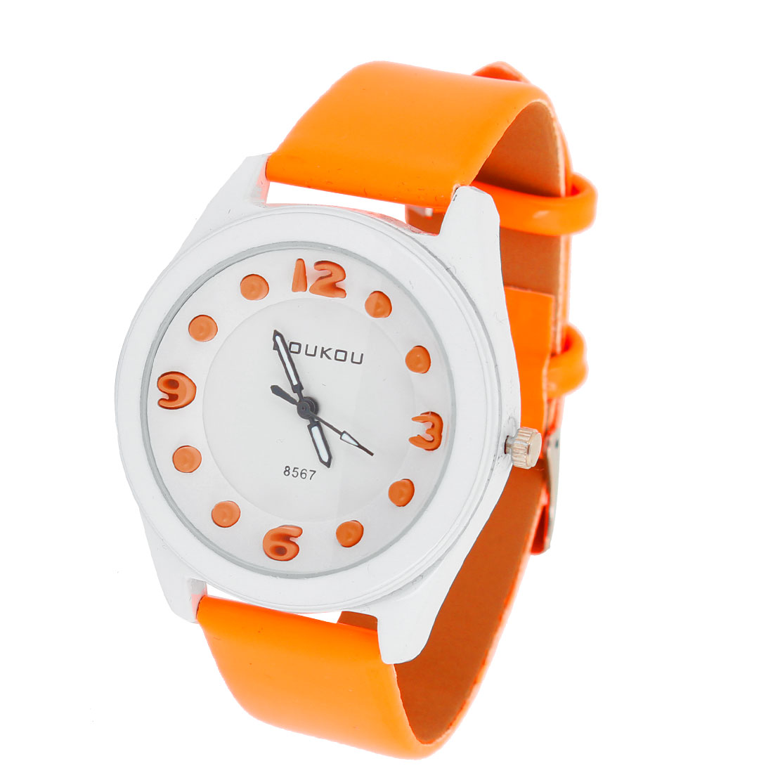 Women Orange Faux Leather Watchband Round Dial Quarz Wrist Watch