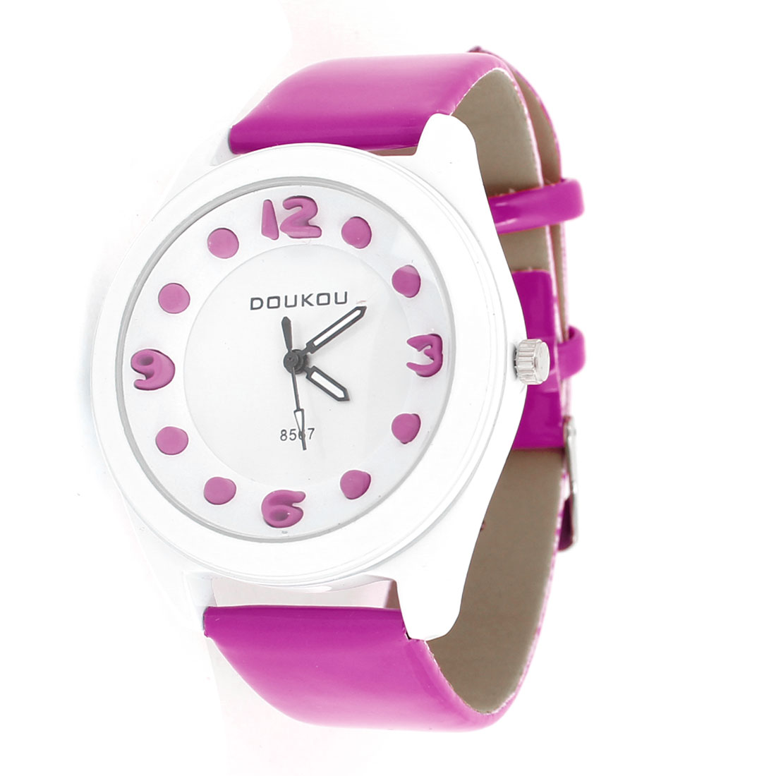 Women Pink White Faux Leather Watchband Round Dial Wrist Watch