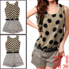 Ladies Fashion Dots Pattern Khaki Black Short Rompers w Belt S