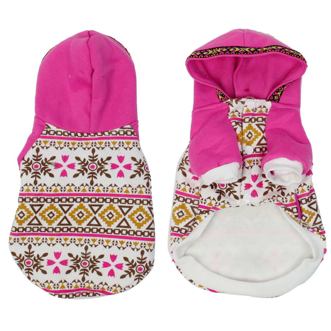 Fuchsia White Nordic Print Press Stud Button Hoodie Pet Dog Coat Sweater M