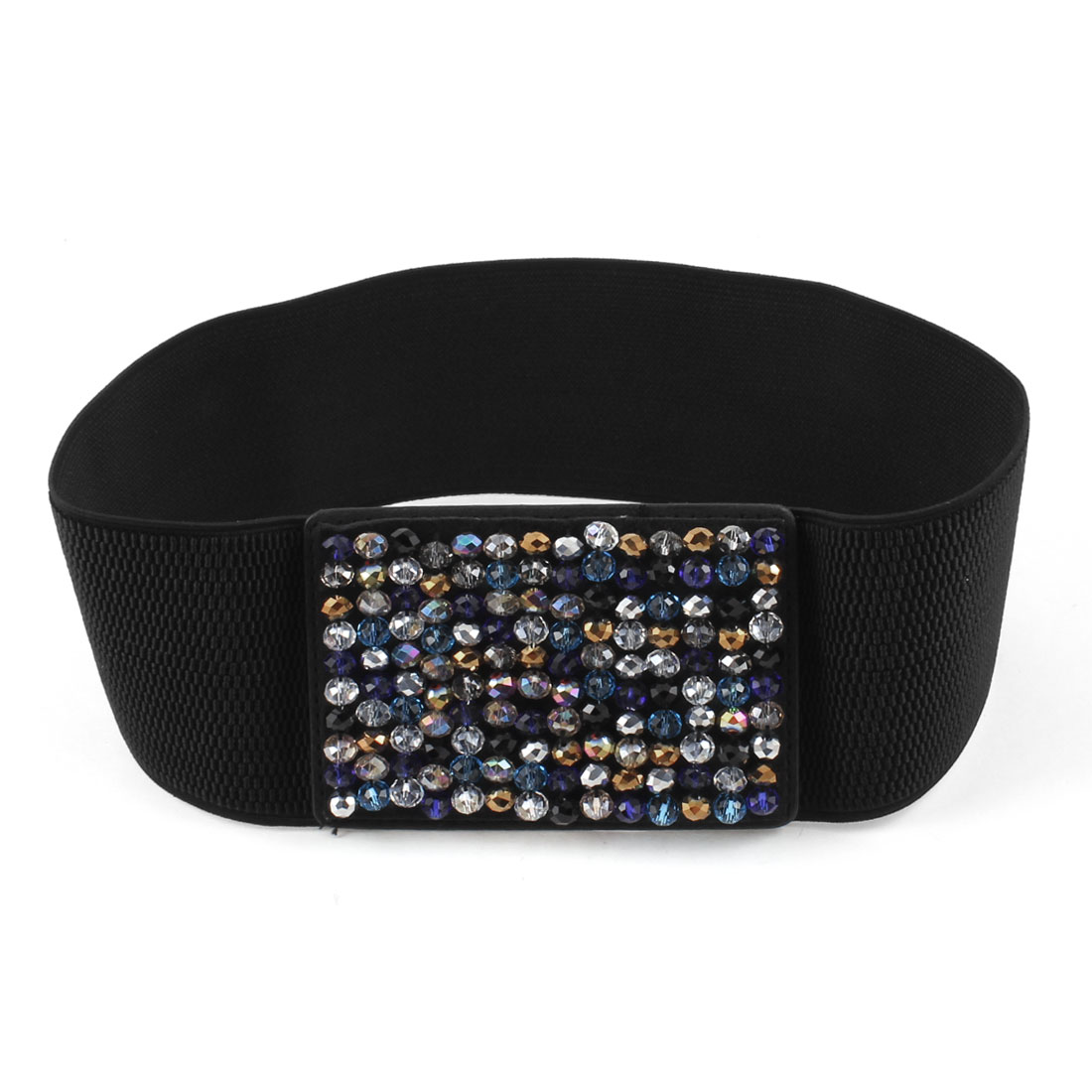 Women Colorful Faceted Beads Detailing Elastic Band Waist Cinch Belt