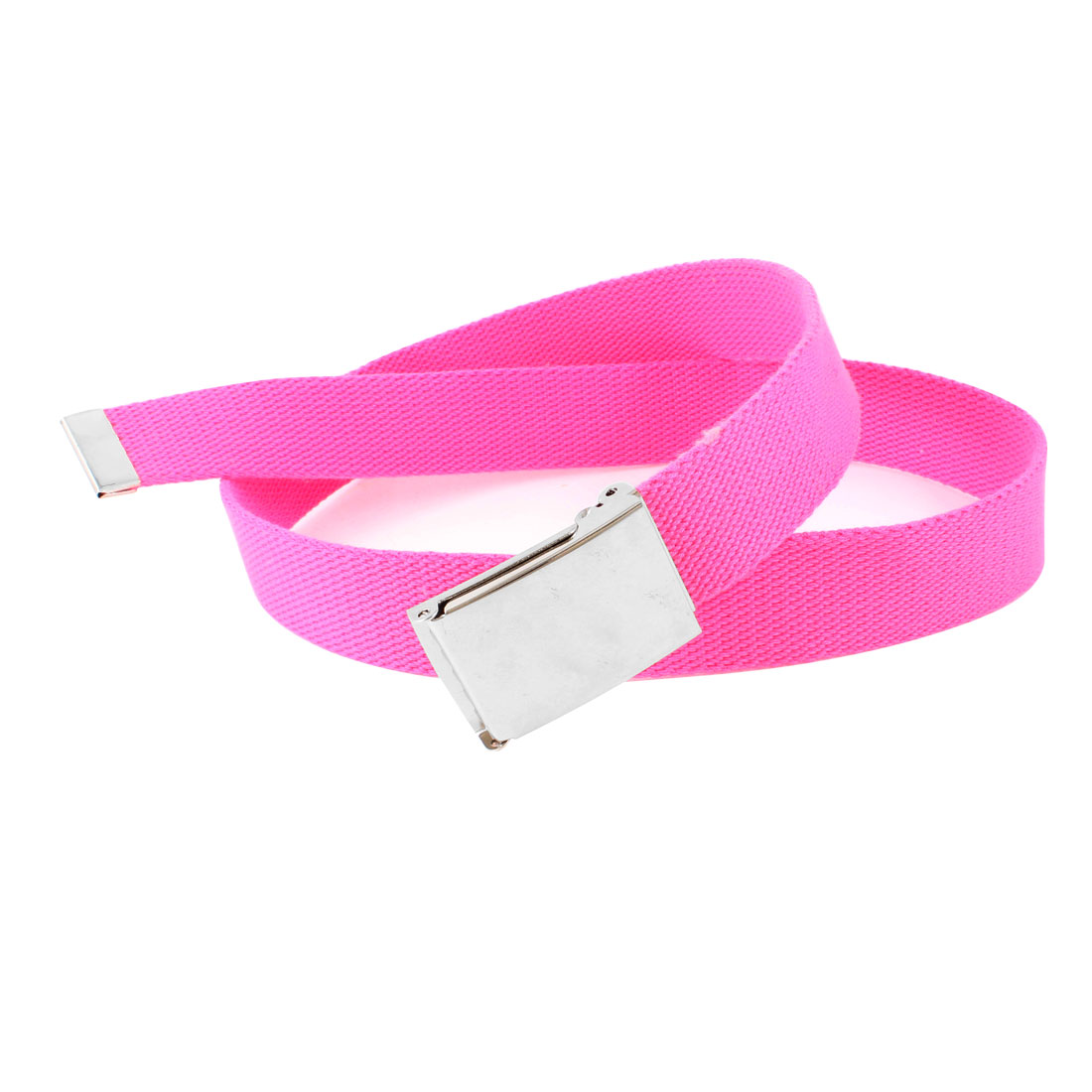 Women Pink Metal Slide Buckle Fabric Waist Belt 106cm Long