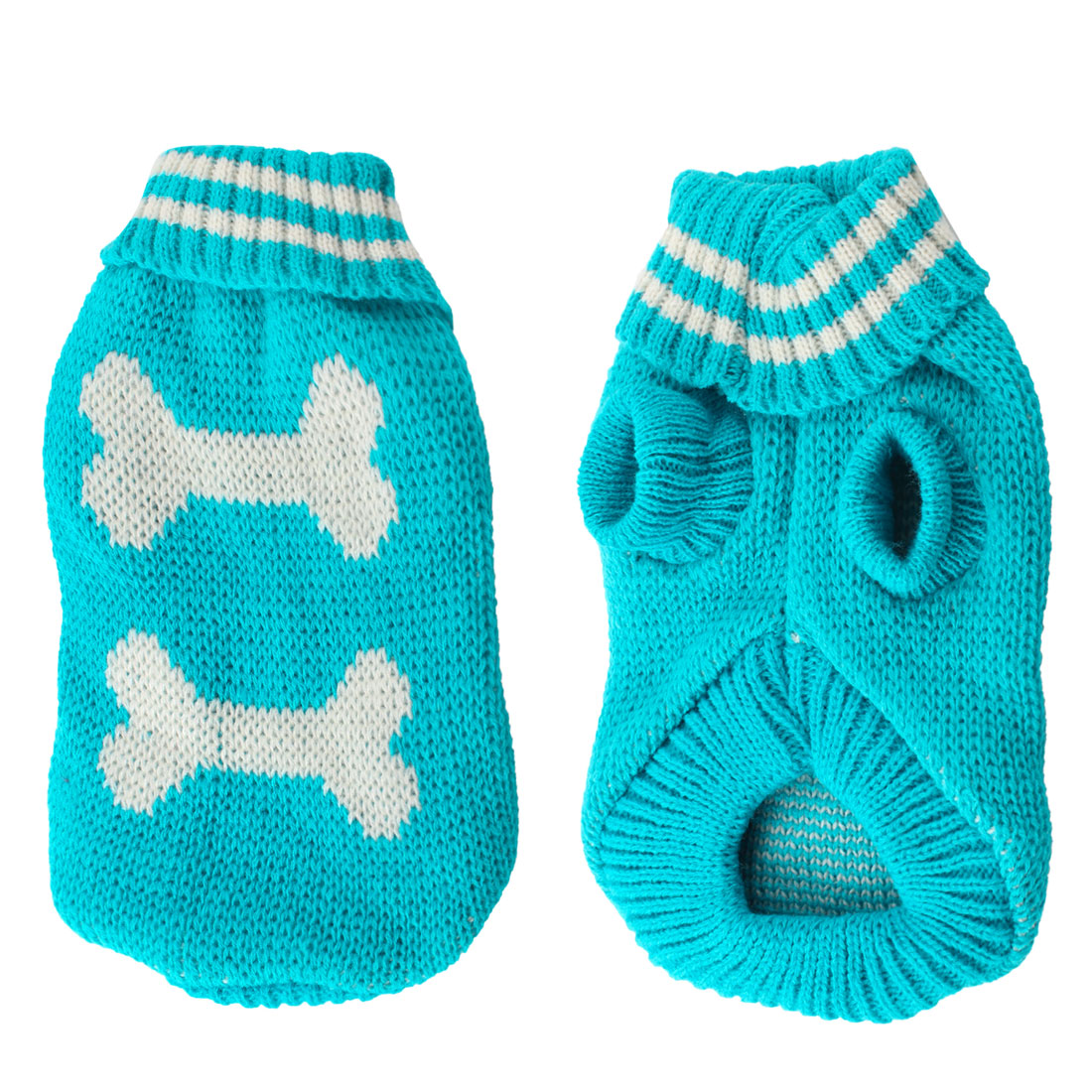 Pet Dog Yorkie Cyan White Bone Pattern Turtleneck Knitting Clothes Sweater XXS