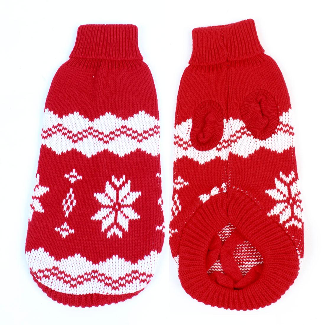 Pet Dog Acrylic Flower Pattern Winter Warm Turtleneck Sweater Coat White Red Size 10