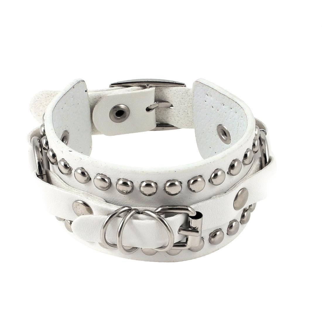 Women Single Pin Buckle Faux Leather Adjustable Bangle Bracelet White