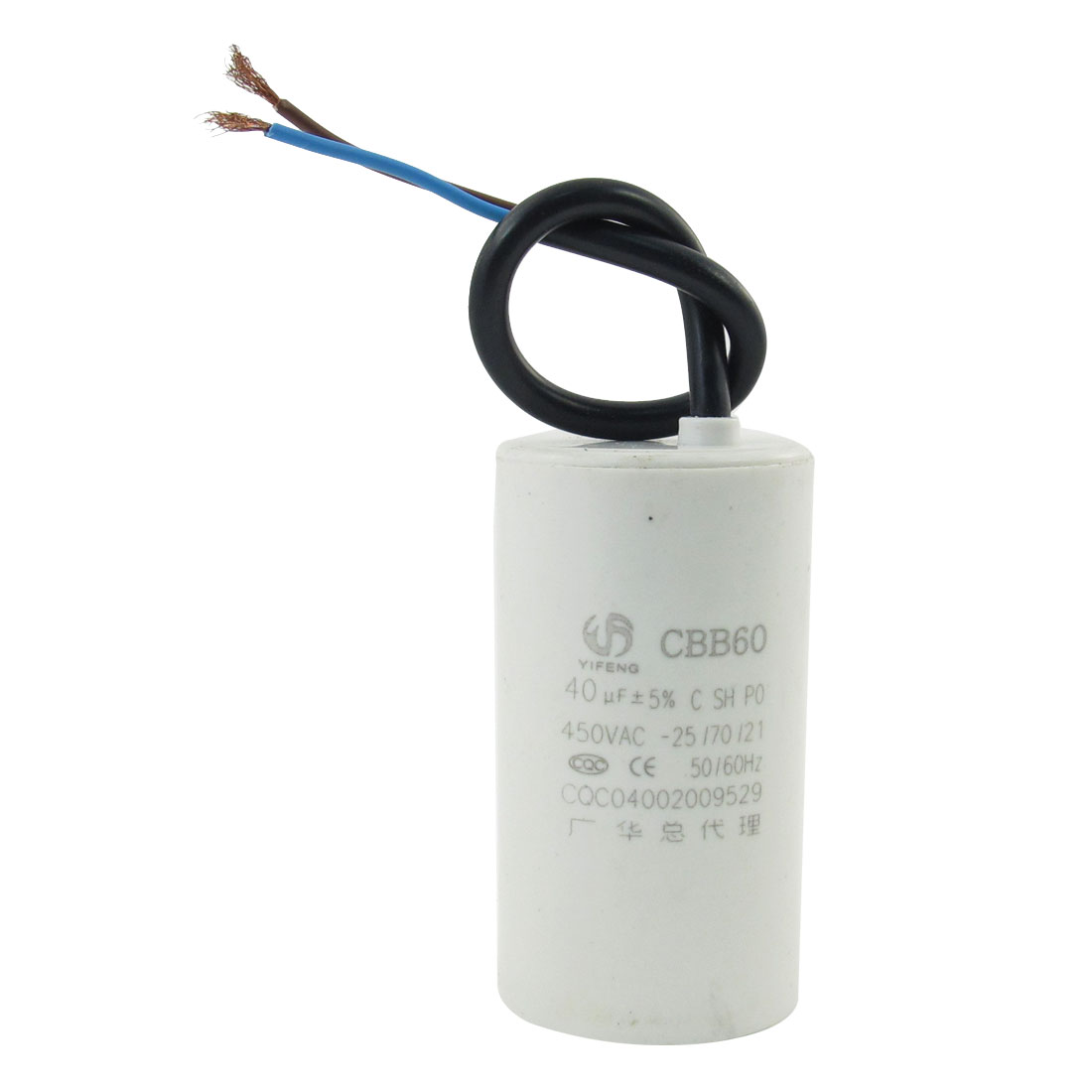CBB60 40uF 450VAC 50/60HZ Wired Motor Run Capacitor White for Air Conditioner