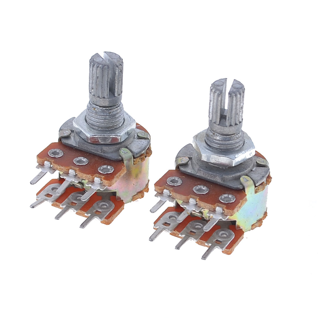 2 Pcs B100K 100K Ohm Dual Linear Rotary Shaft Taper Pot Potentiometer