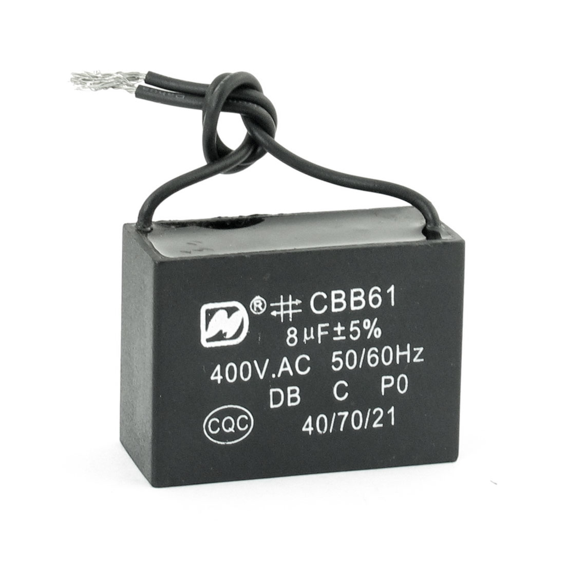 CBB61 400V AC 8uF 5% Tolerance Wired Fan Motor Capacitor