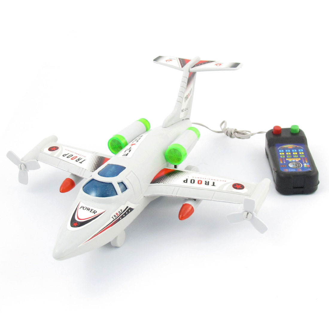 Warm White LED Light Remote Control Airplane Toy Pale Gray for Kids
