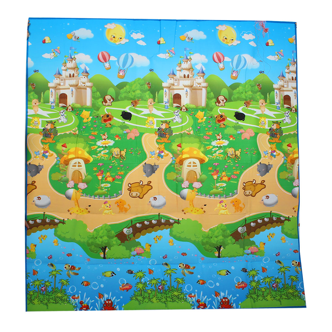"Colorful Castle Animals Pattern Waterproof Baby Crawling Mat Pad 70"" x 70"""