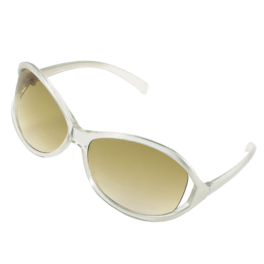 Lady Silver Tone Full Frame Slim Arms Single Bridge Colored Lens Sunglasses