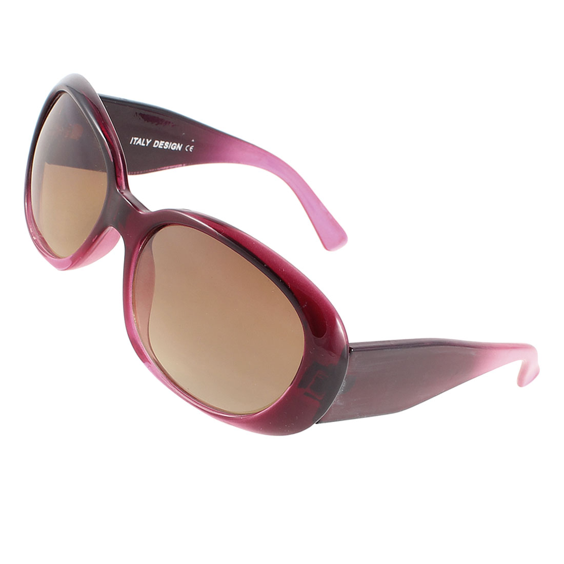 Lady Plastic Burgundy Full Frame Wide Arms Single Bridge Brown Lens Sunglasses