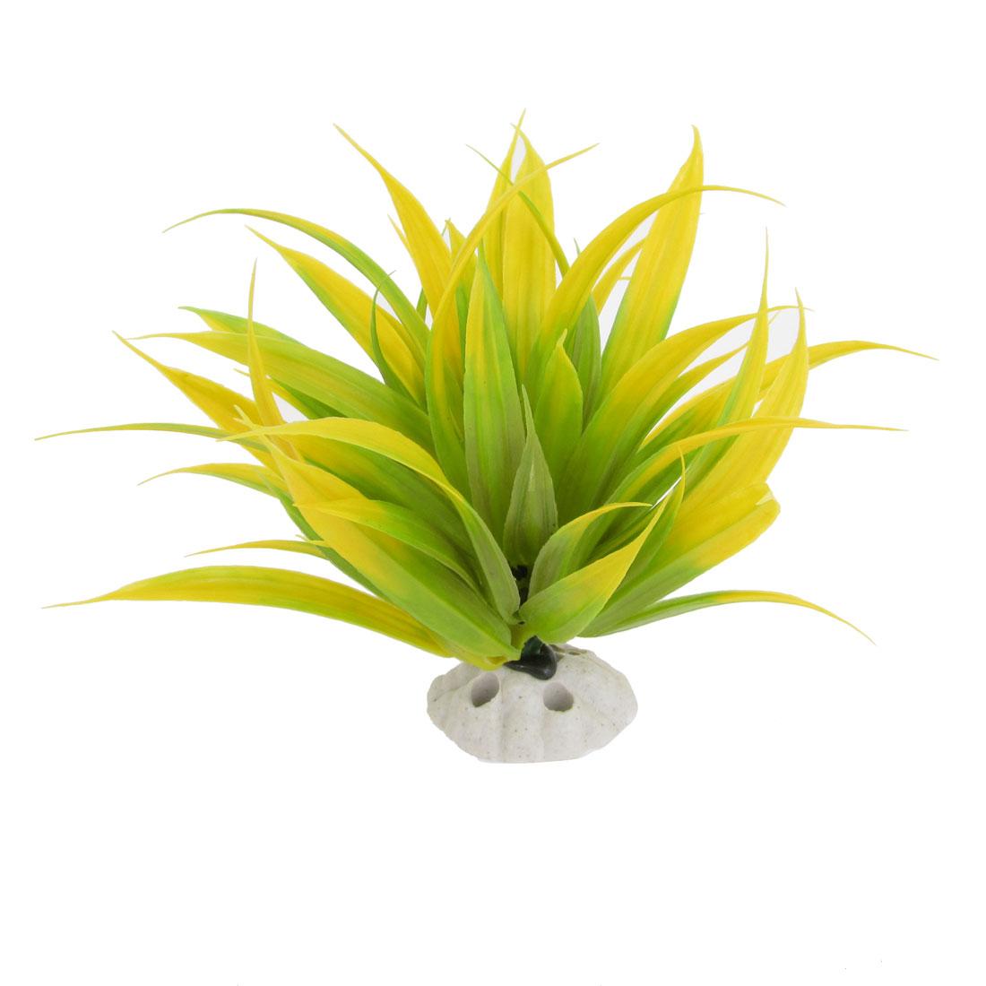 "Aquarium Aquascaping Yellow Green Plastic Water Plant Grass Decor 6.7"" High"
