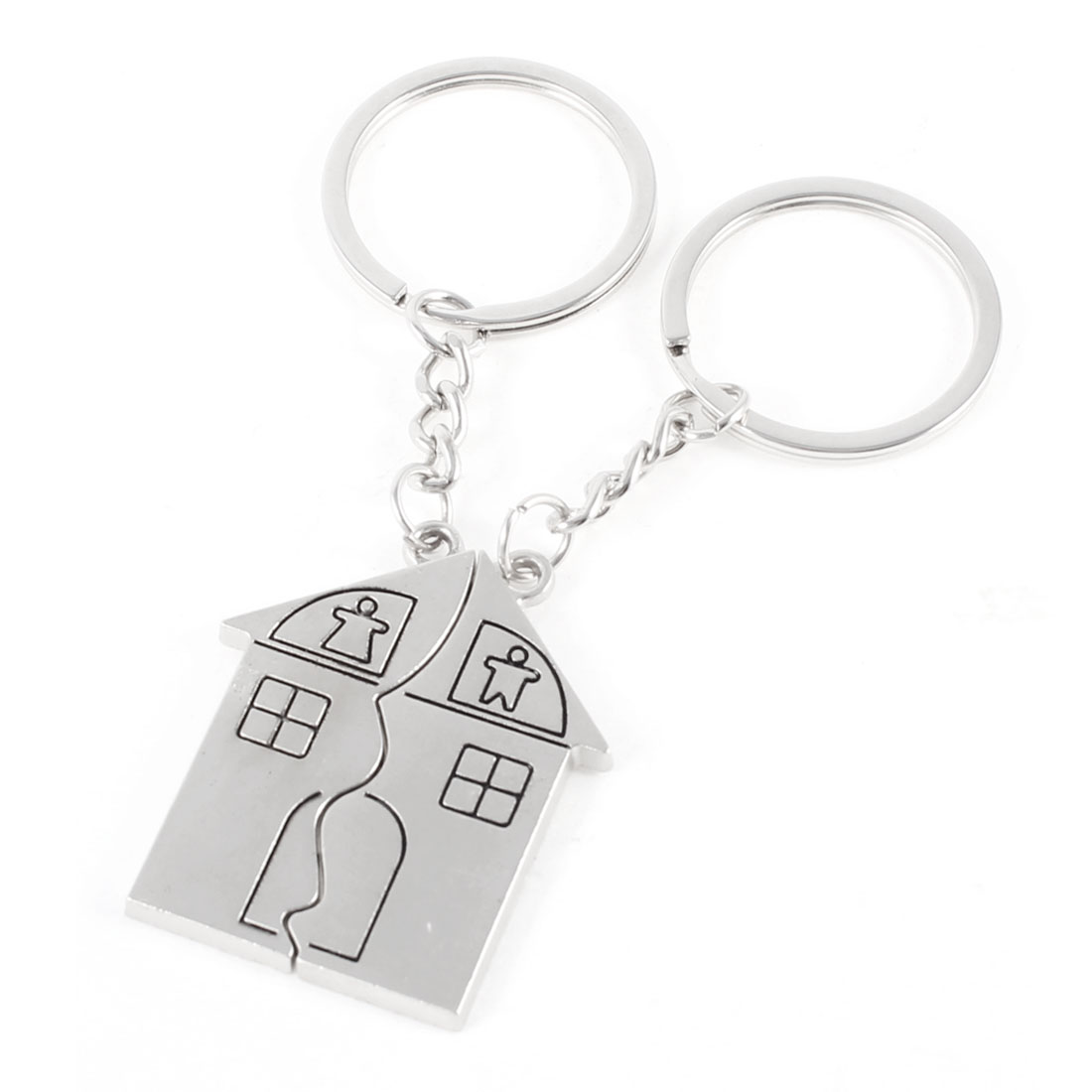 Pair Valentines Day Gift Metal House Design Keyring Keychain Pendant