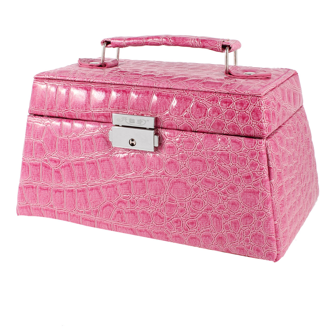 Alligator Print Fuchsia Faux Leather 3 Layers Jewelry Box Case w Mirror