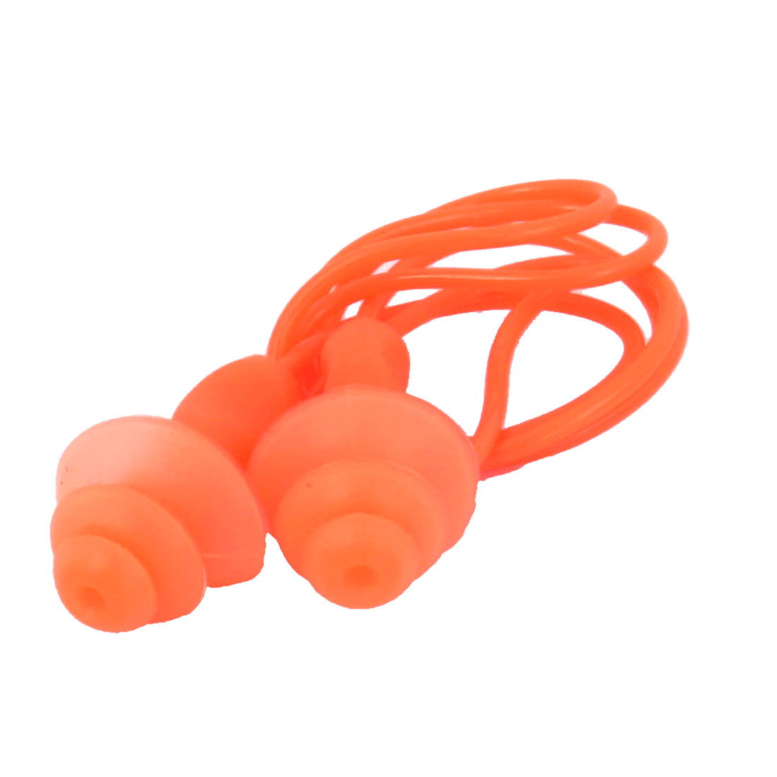 Swimming Sleeping Orange Silicone Earplugs 55cm Long String