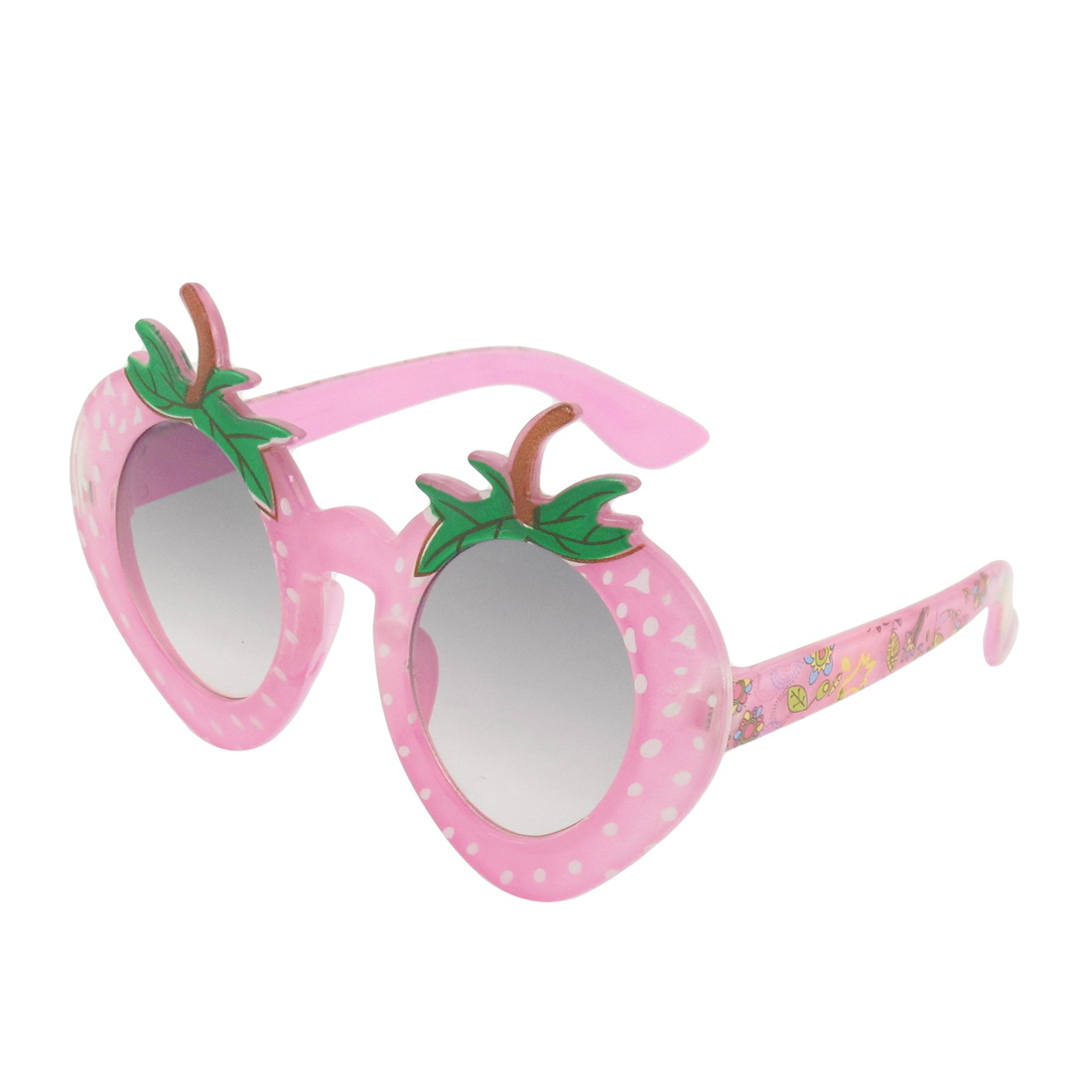 Pink Strawberry Design Full Frame Clear Gray Lens Sunglasses for Kids