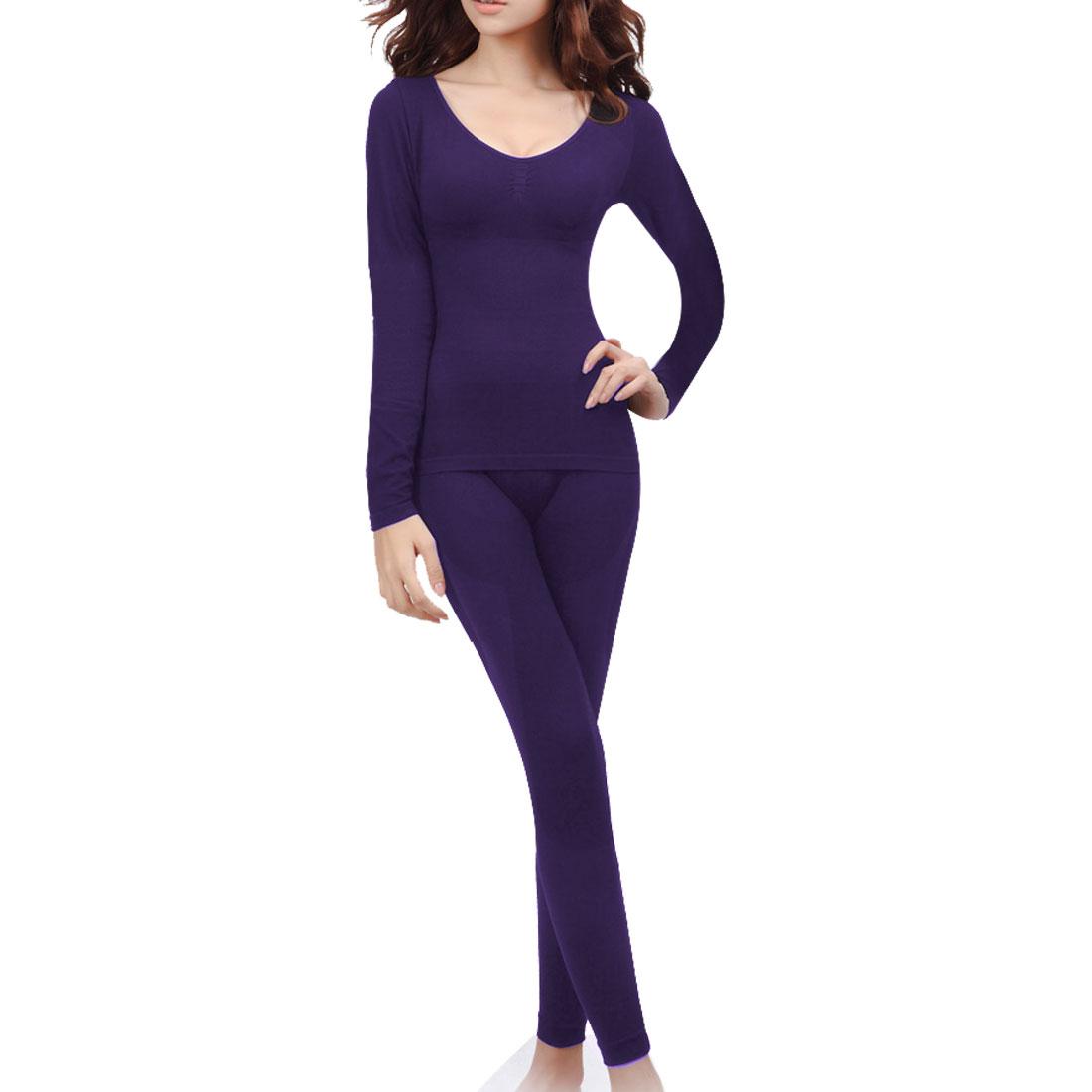 Women Lozenge Print Thin Seamless Thermal Underwear Set Dark Purple XS
