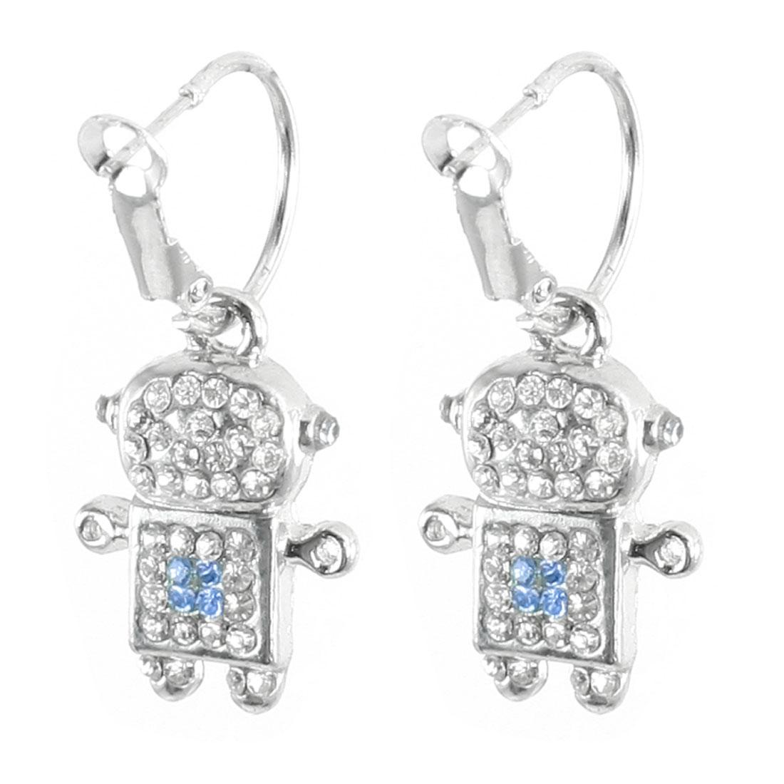Pair Silver Tone Robot Pendant Decor Pierced Earrings for Lady