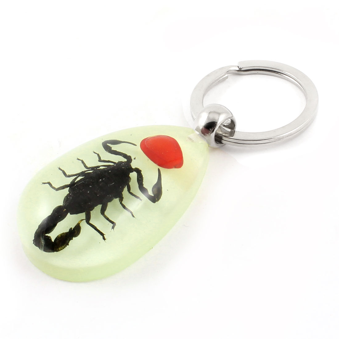 Metal Split Ring Black Red Scorpion Amber Pendant Keychain Light Green