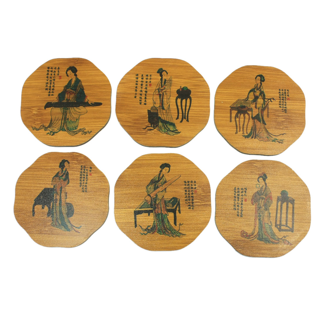 Home Tabletop 6 Pcs Brown Bamboo Vintage Style Coaster Mat w Holder