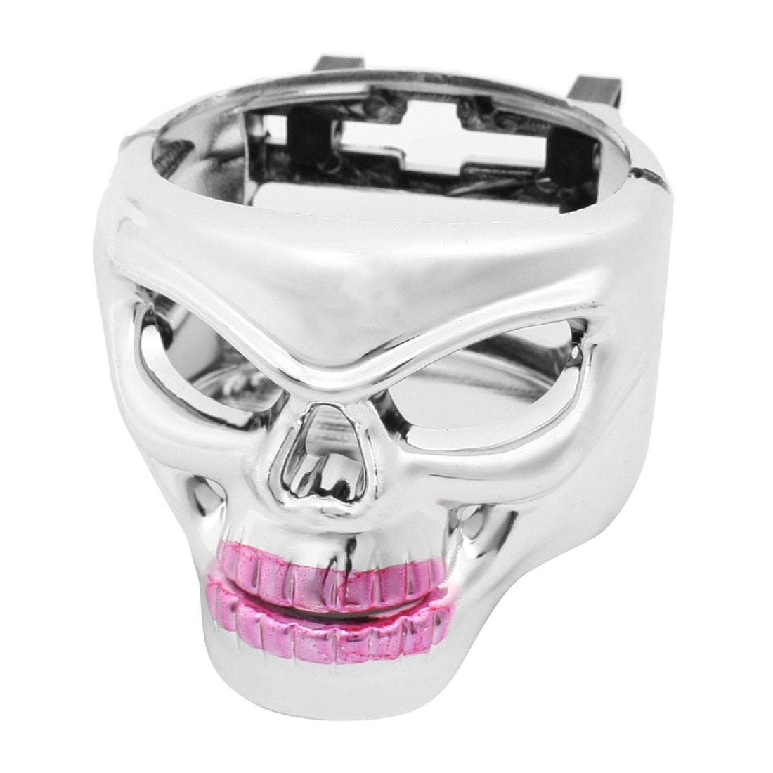 Car Auto Boat Silver Tone Skull Shaped Can Cup Bottle Drink Holder