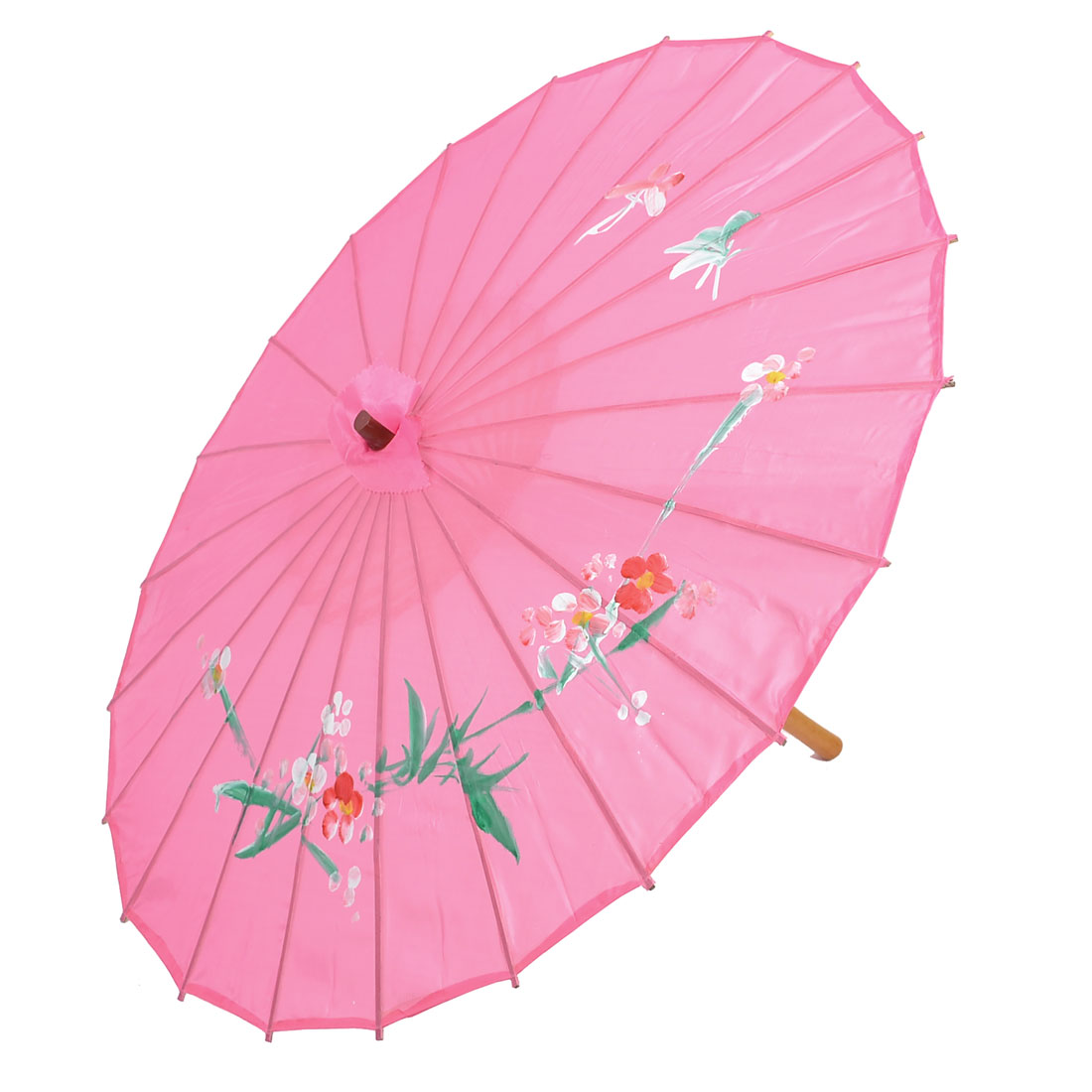 Pink Plum Blossom Pattern Bamboo Chinese Dancing Parasol Umbrella