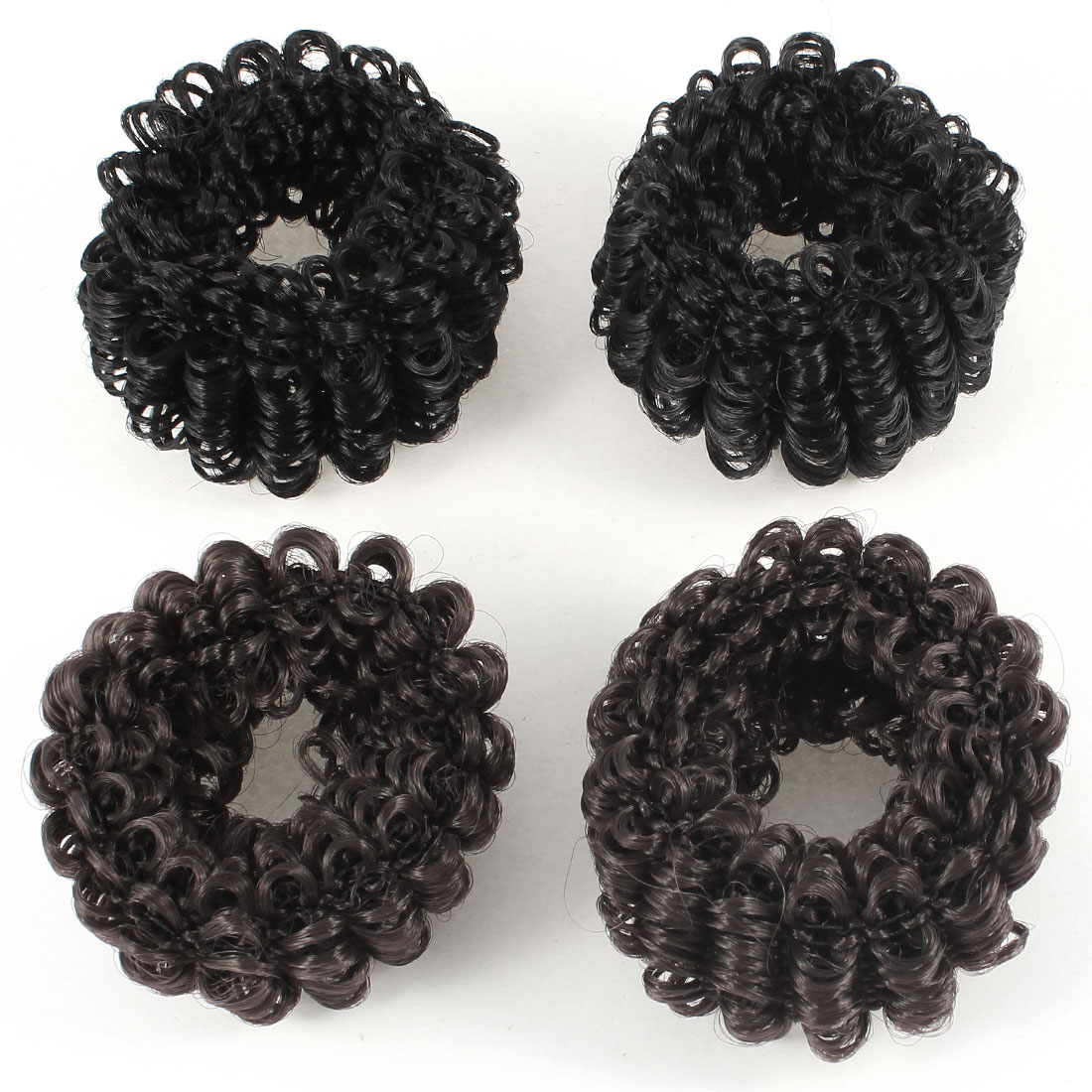4 Pcs Women Brown Black DIY Hairstyle Curly Faux Hair Bun Hairpiece Wig