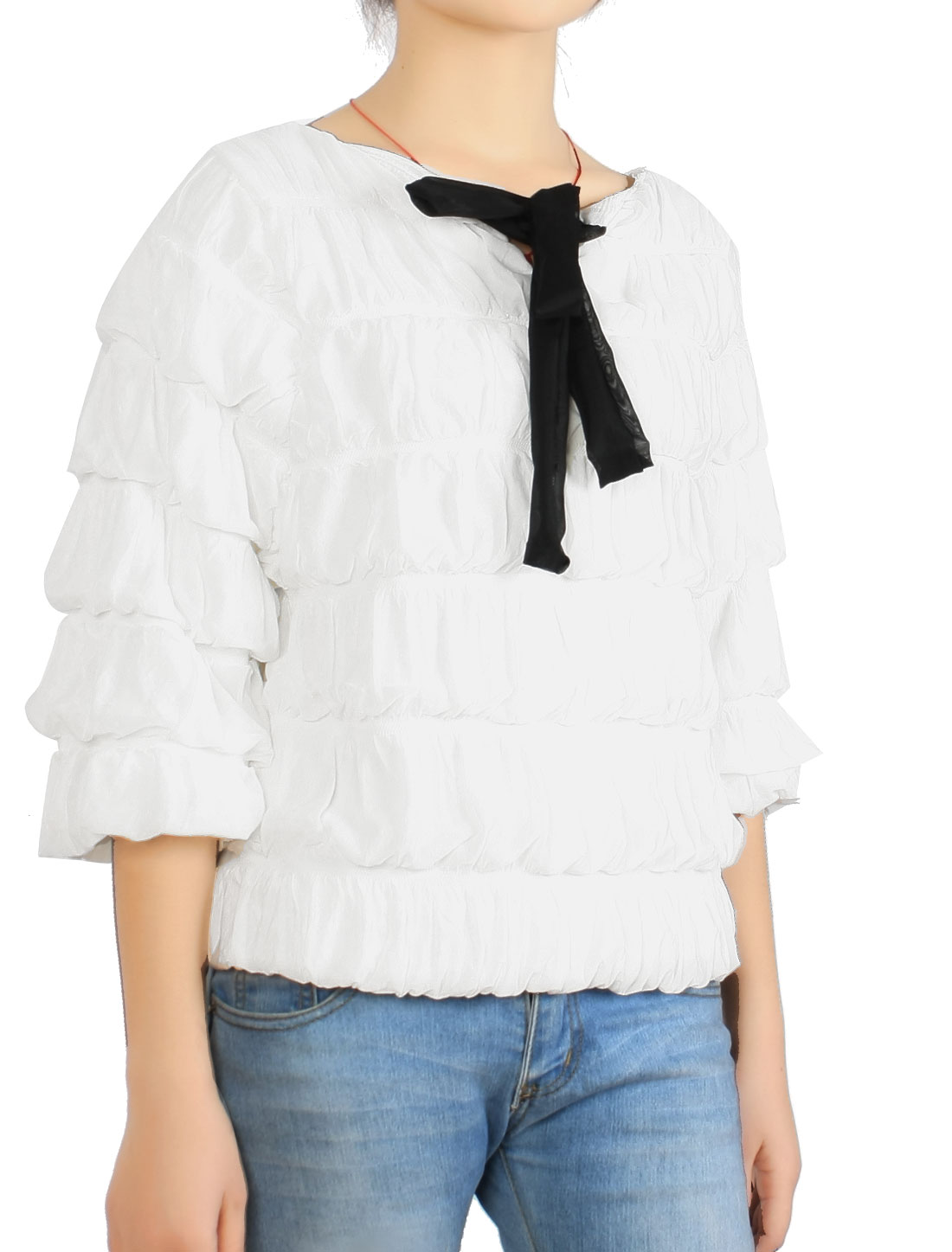 White Ruffled 3/4 Sleeve Pullover Autumn Outwear Coat XS for Woman