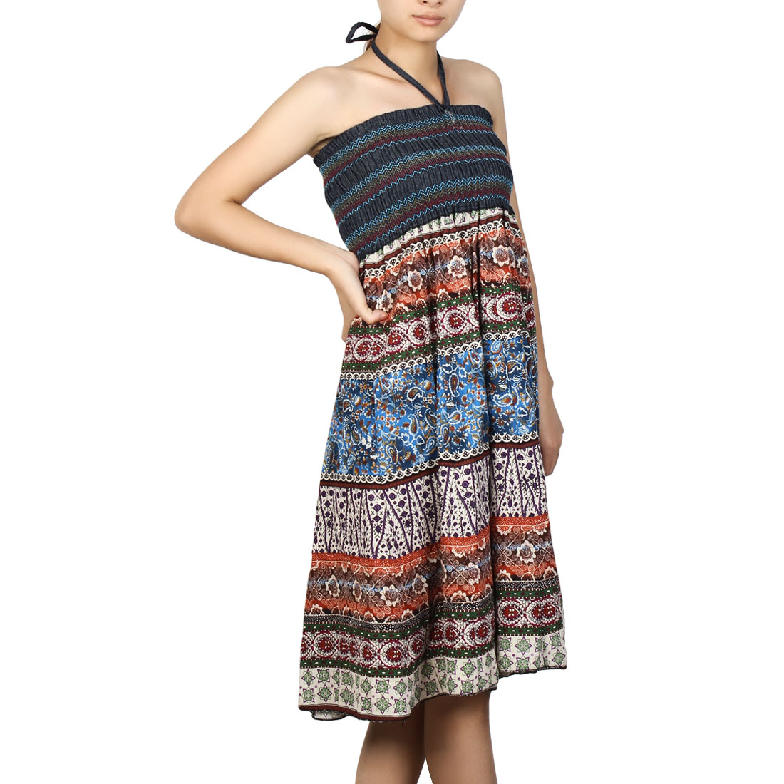 Woman Paisley Pattern Smocked Nation Style Halter Dress Blue Teal XS