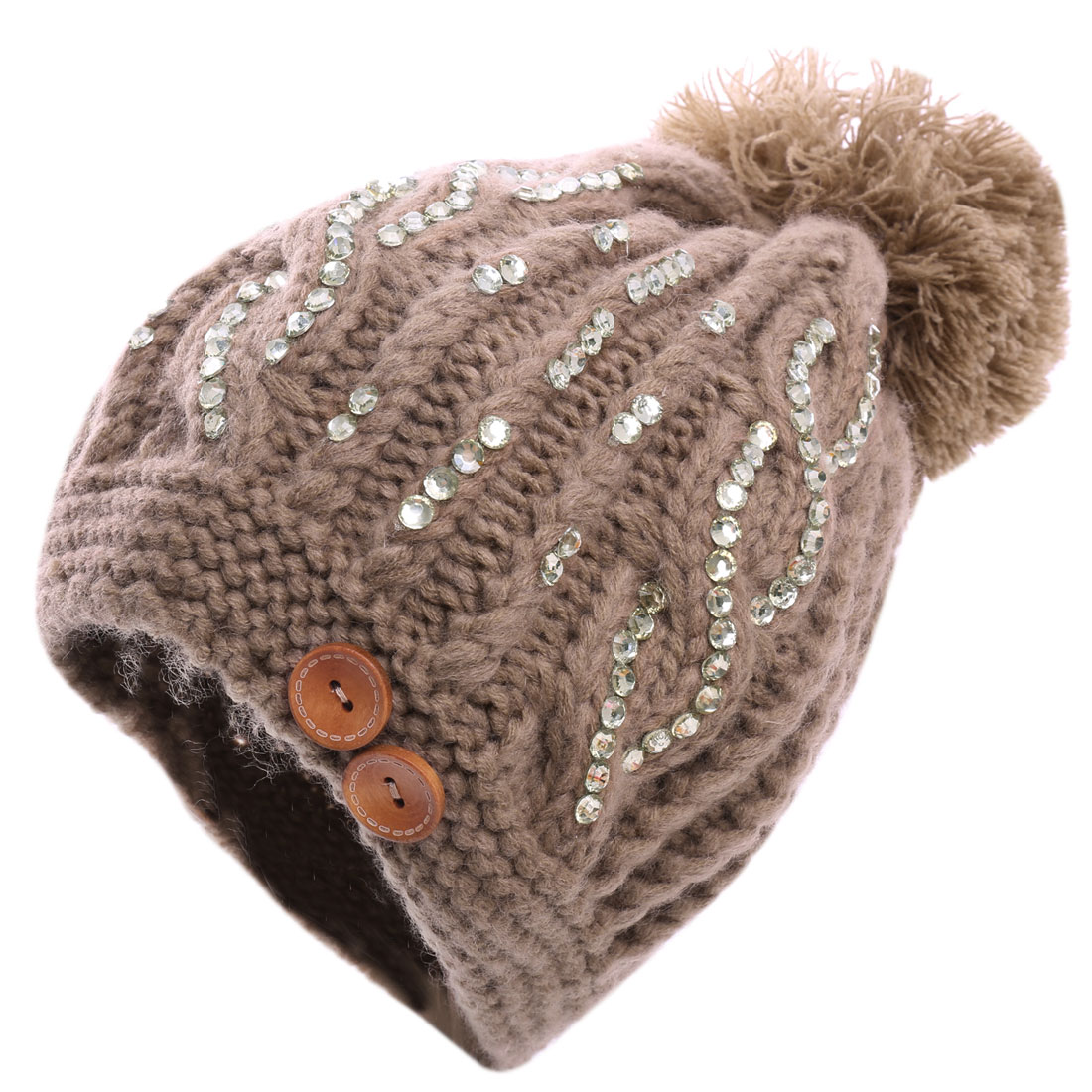 Ladies' Sequin Embellished Buttoned Lovely Pom Pom Coffee Beanie Hat