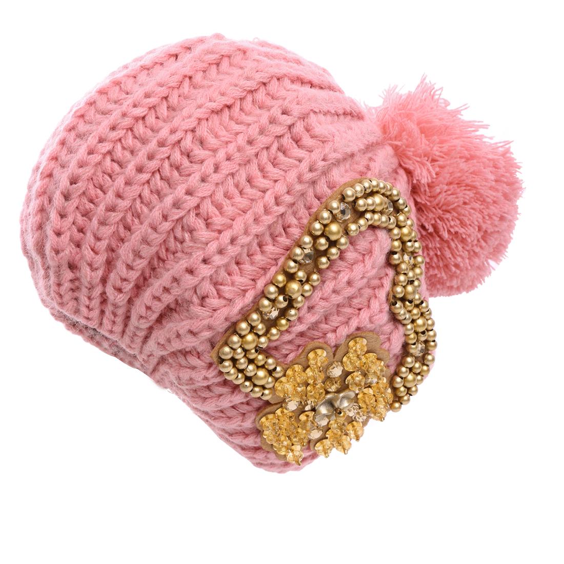 Ladies Braided Design Beads Decor Knitting Beanie Hat Pink