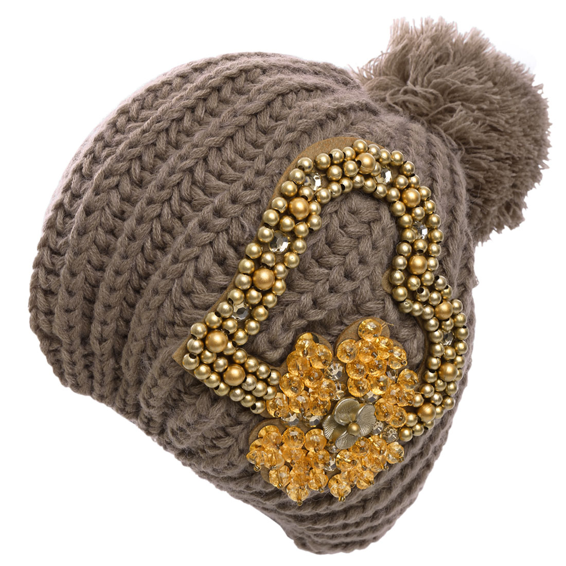 Ladies Pom-Pom Rhinestone Decor Knitted Beanie Hat Brown
