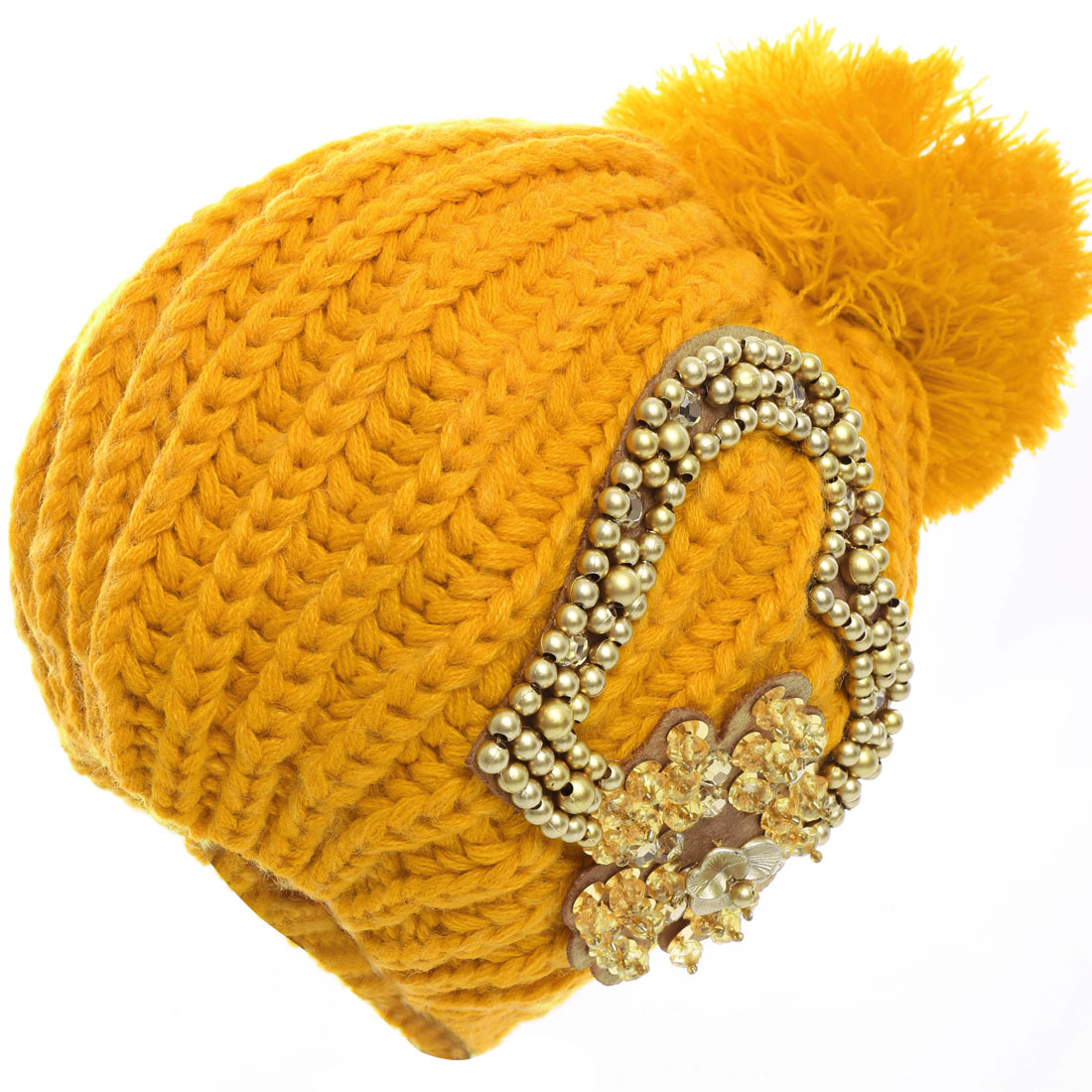 Ladies Heart Pattern Winter Stretchy Knitting Hat Yellow
